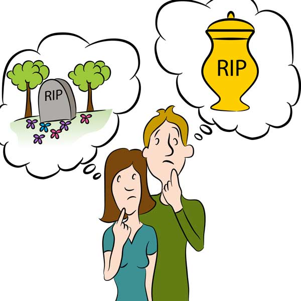 Couple thinking about planning a funeral